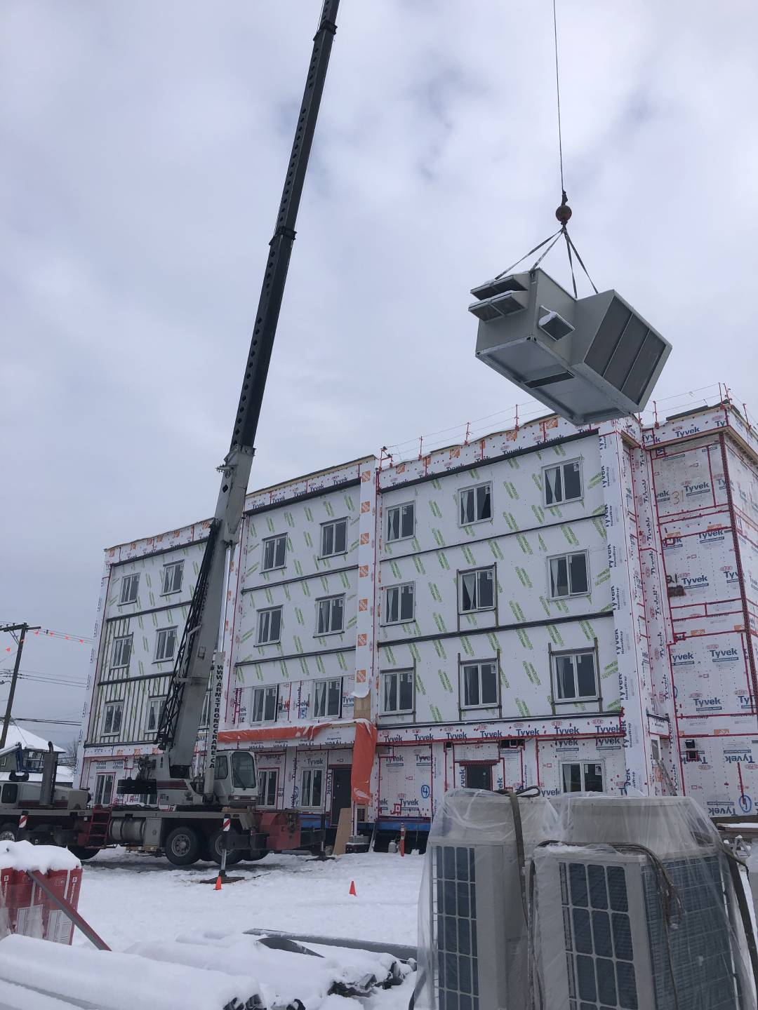 ventilation system lifted with crane